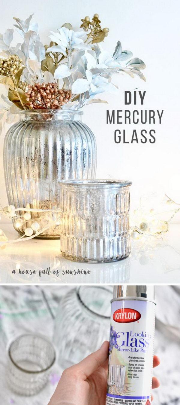 DIY Mercury Glass Centerpiece.
