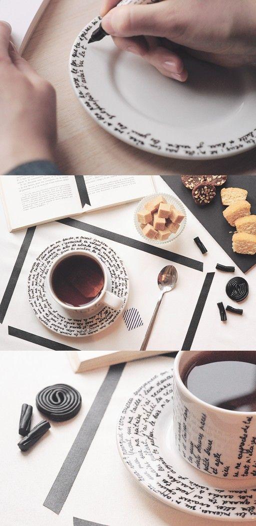 DIY Hand Script Decoration For Your Tea Set.