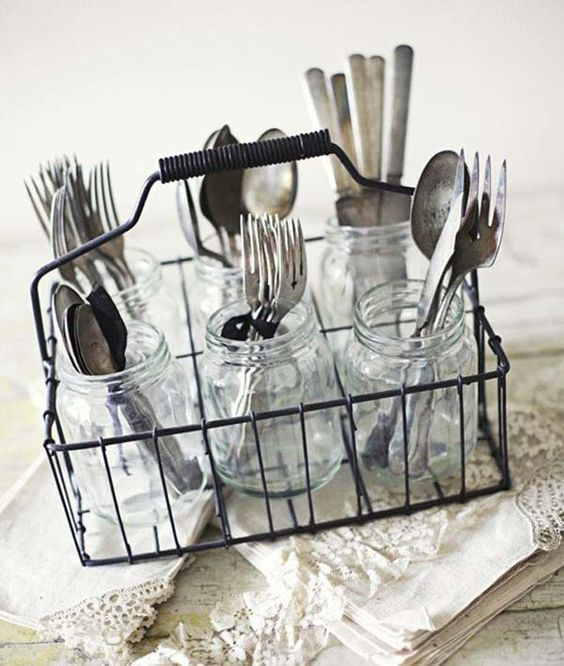 Milk Bottle Holder Turned Silverware Holder.