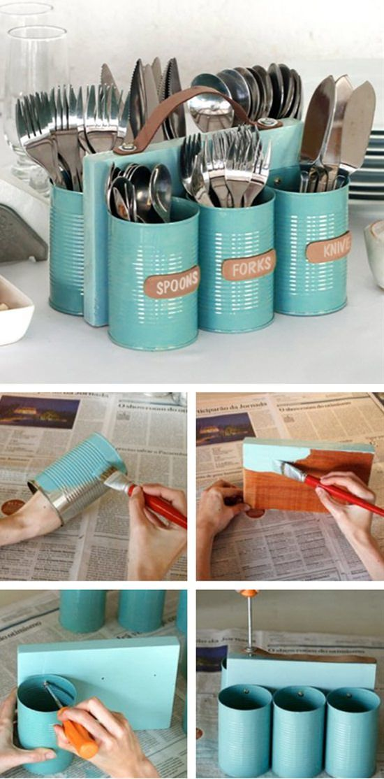 DIY Painted Cans Cutlery Holder.
