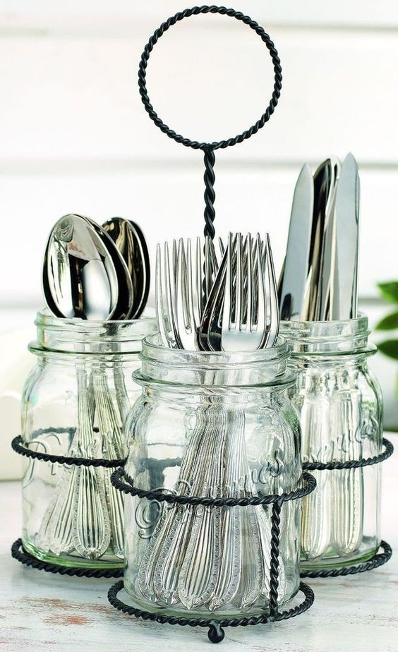 Glass Mason Jar 3 Sectional Flatware Caddy.