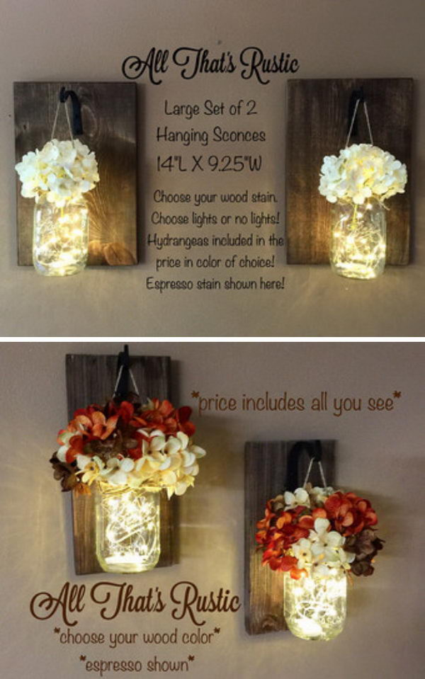 Glowing Mason Jar Wall Sconces.