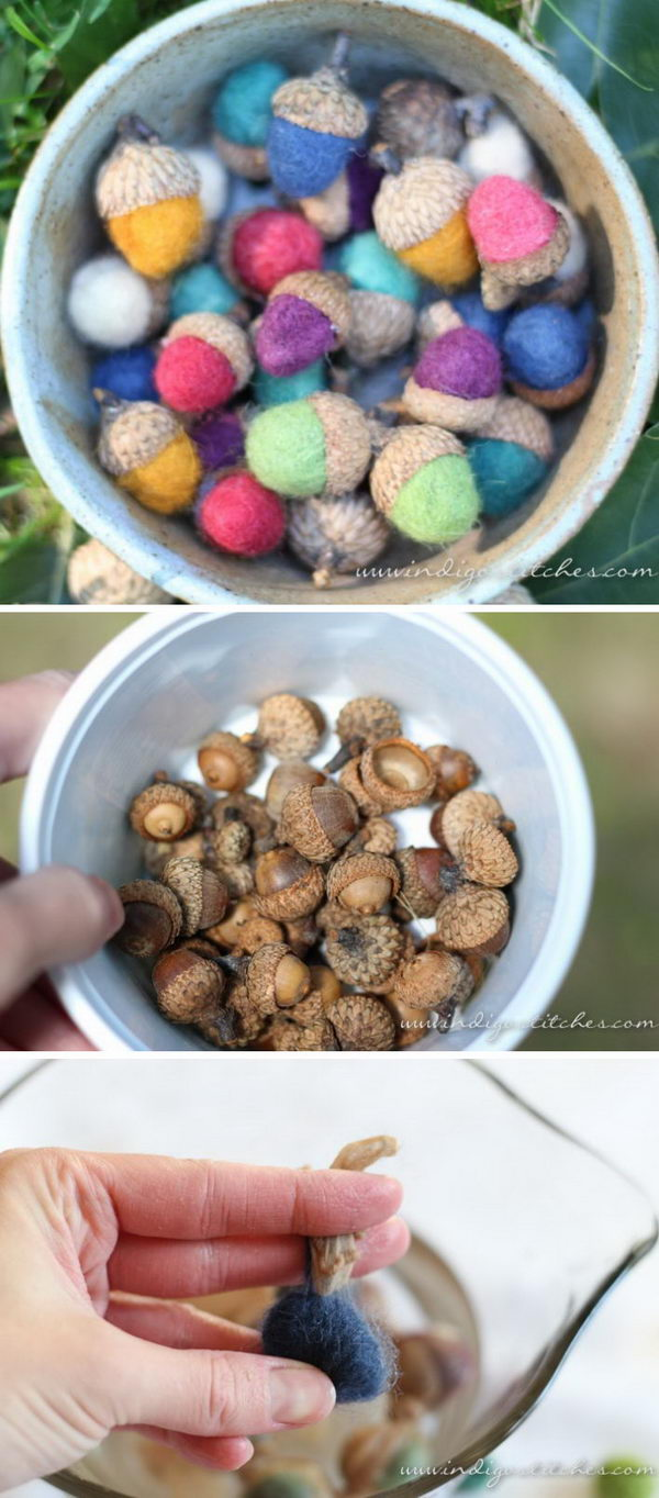 DIY Felted Acorns.