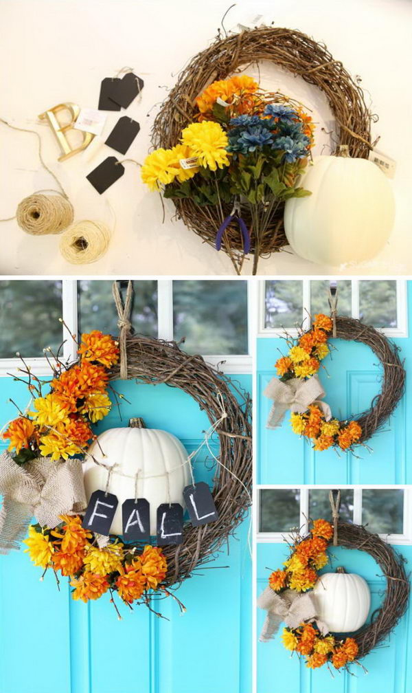 DIY Fall Floral And Pumpkin Wreath.