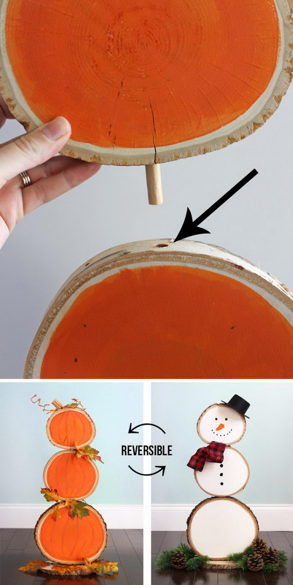 Reversible Fall and Christmas Wood Slice Decoration.