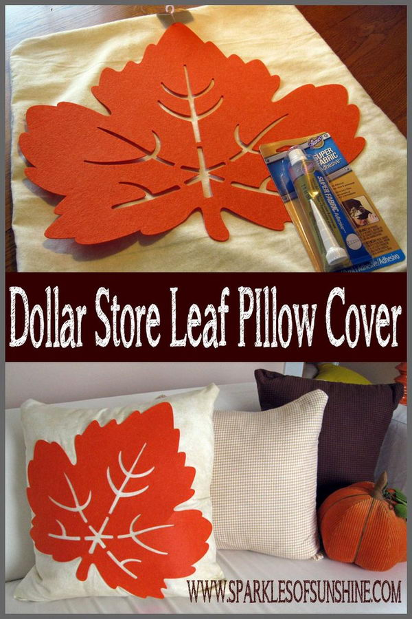 Dollar Store Leaf Pillow Cover.