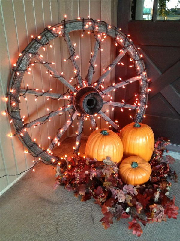 Lighted Wagon Wheels.