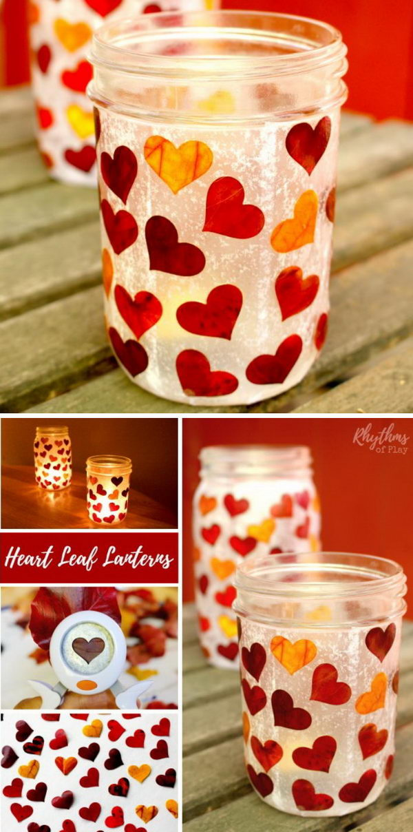 DIY Heart Leaf Mason Jar Lanterns.
