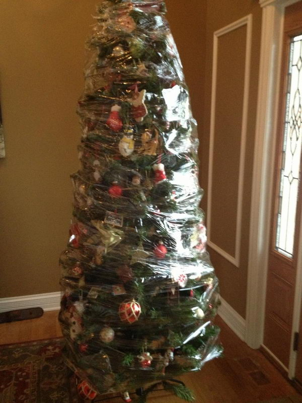 After Christmas Wrap Your Entire Tree With Saran Wrap For Easy Storage.