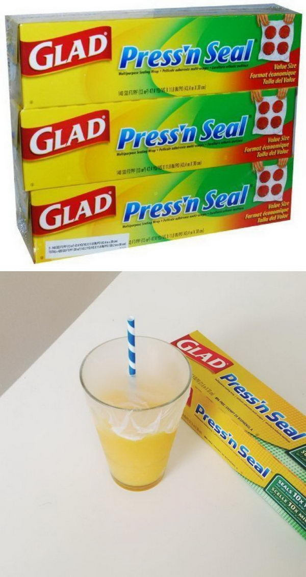 Make Any Cup Spill Proof For The Kids With Some Press'n Seal Wrap.
