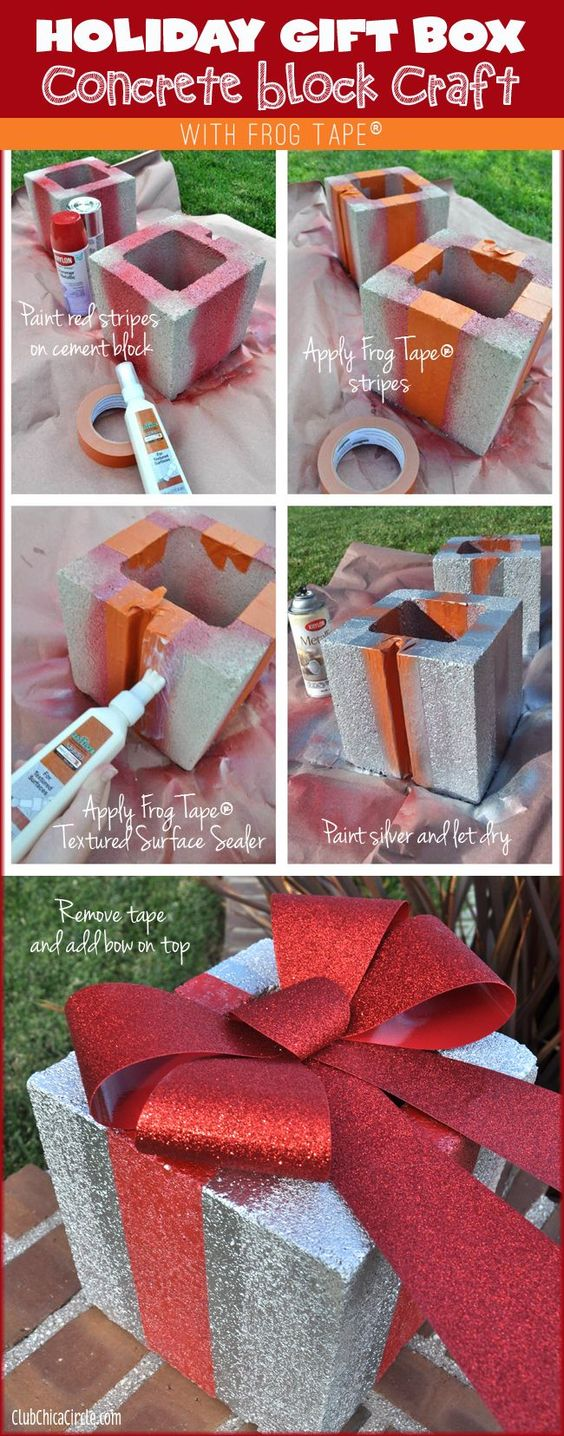 Make Festive Holiday Gift Boxs From Concrete Bricks.