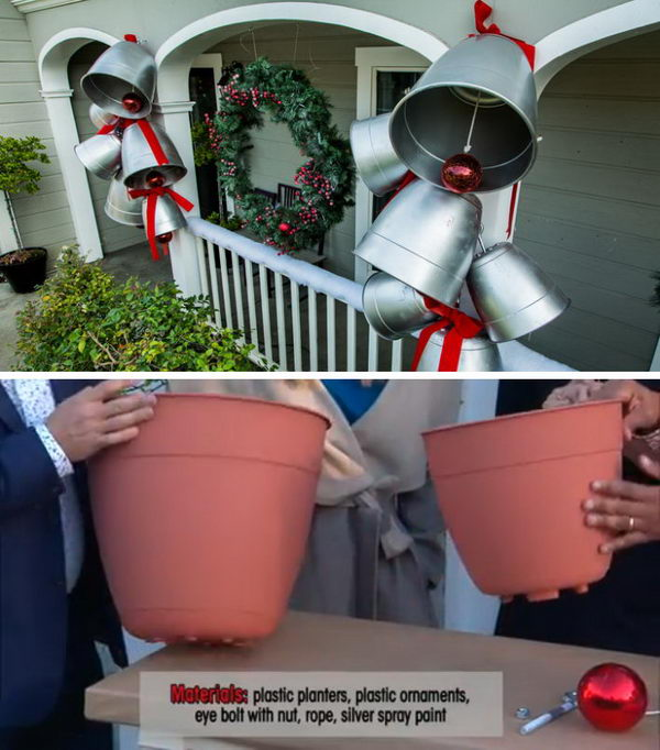 DIY Giant Holiday Bells With Plastic Planters and Large Plastic Ornaments.