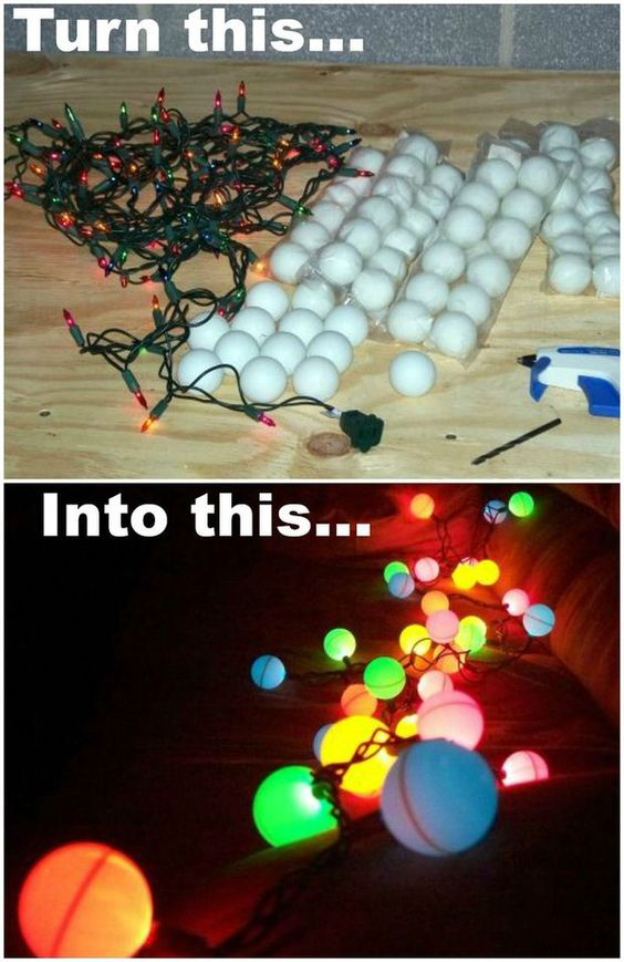 Creative Ping Pong Ball Christmas Lights.