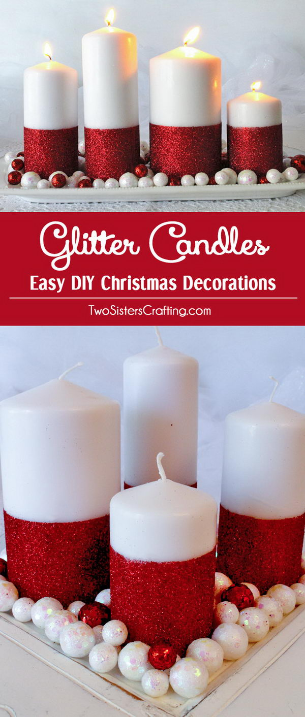 Make Glitter Candles For Holiday Table Decoration.