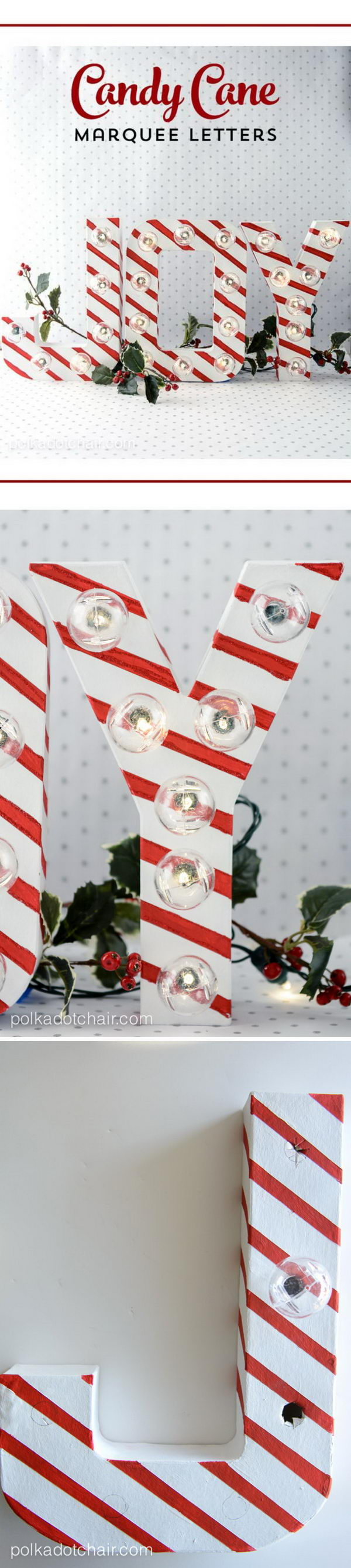DIY Candy Cane Stripe Christmas Marquee Letters.