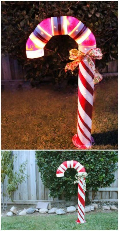DIY Lighted Candy Canes from PVC Pipe and Christmas Lights.