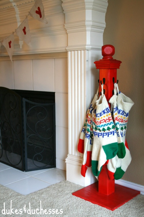 DIY Stocking Hanger Post.
