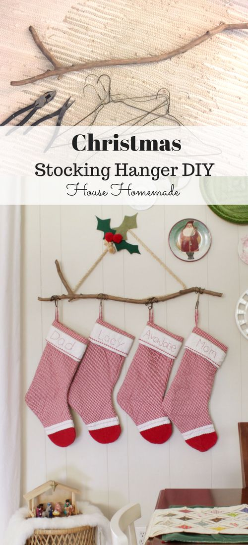 DIY Stocking Hanger From A Stick And Hangers.