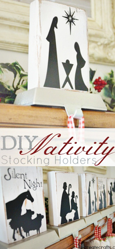 DIY Nativity Scene Stocking Holder.