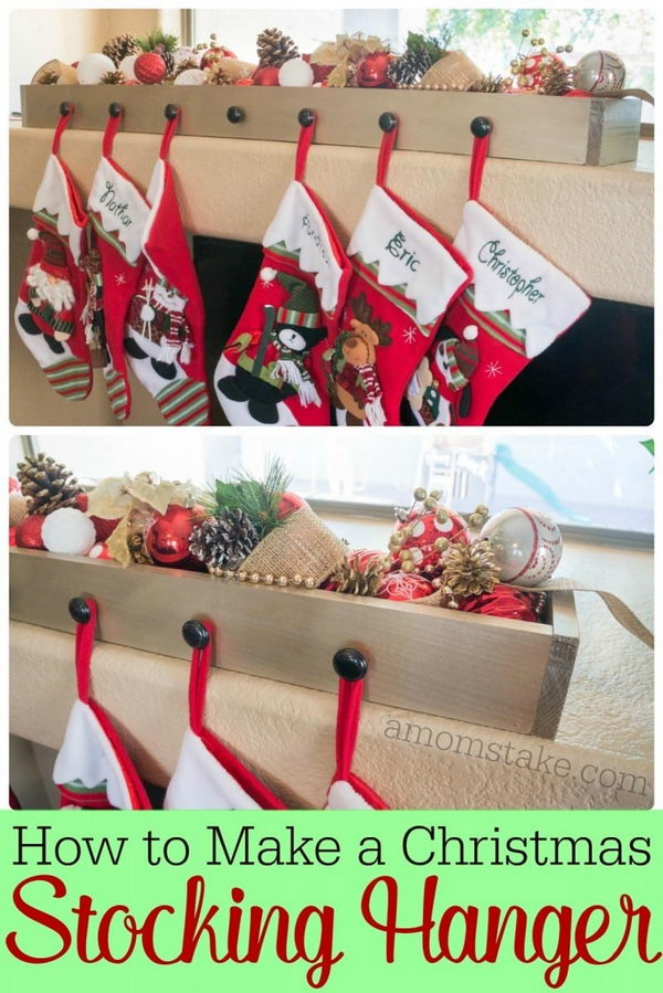 DIY Wood Box Stocking Hanger.