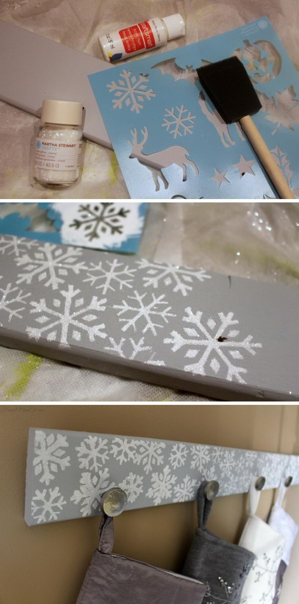 DIY Snowflake Christmas Stocking Holder.