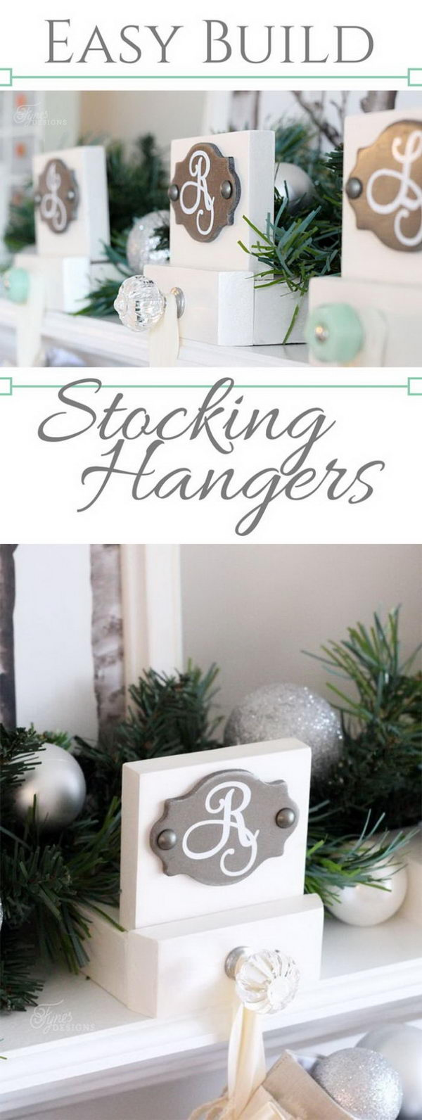 DIY Elegant Wood Stocking Hangers.