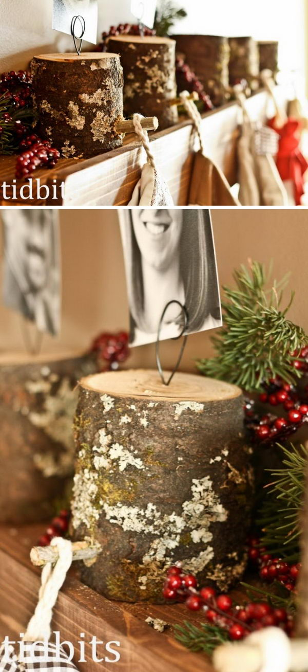 DIY Tree Stumps Stocking Hangers.