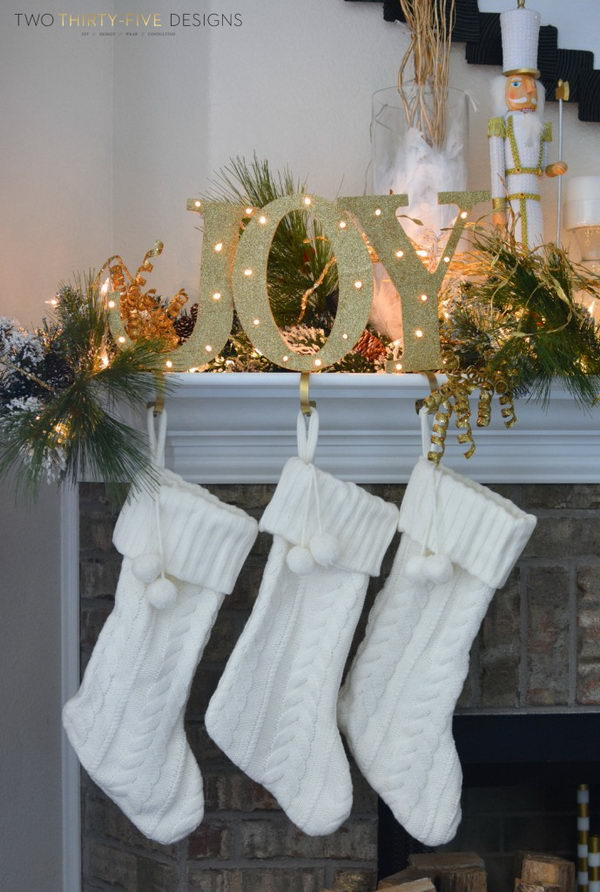 DIY Light Up Joy Stocking Holders.