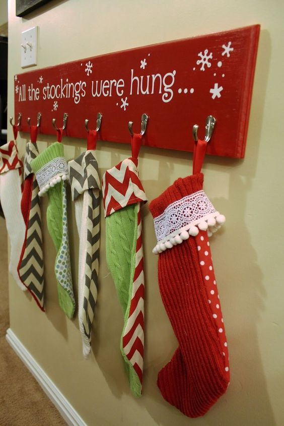 DIY Christmas Stocking Hanger For Homes Without A Mantle.