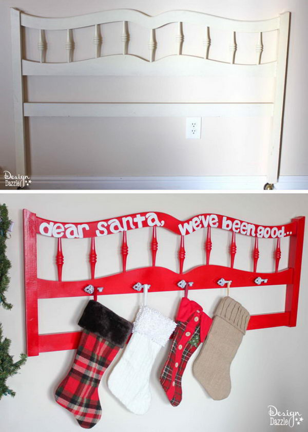 DIY Christmas Stocking Holder From Repurposed Headboard.