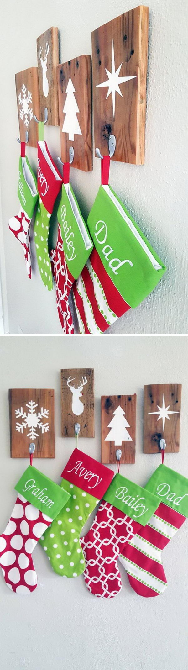 DIY Christmas Stocking Holder Wooden Set.