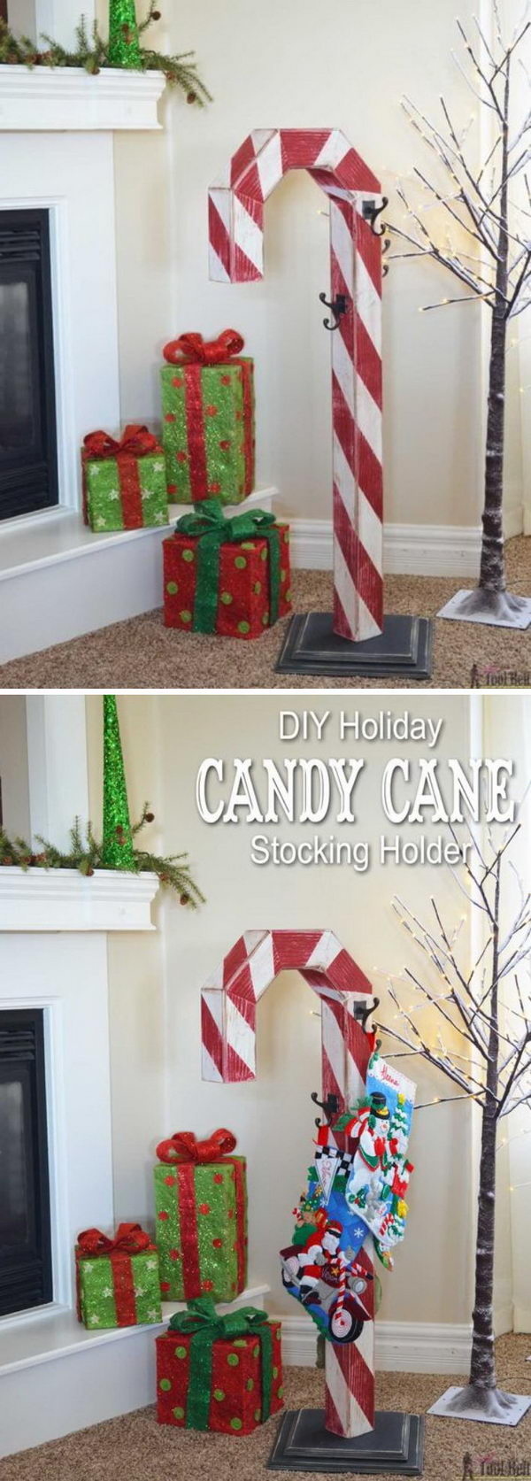 DIY Candy Cane Stocking Post.