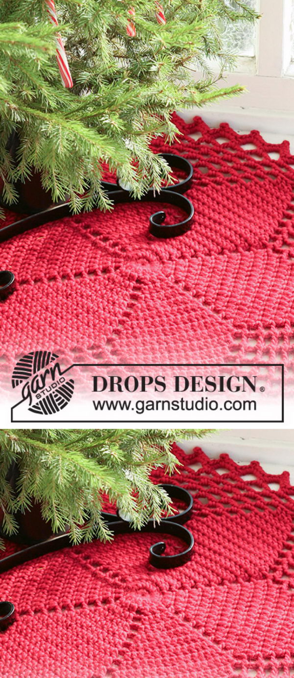 Red Star Christmas Tree Skirt.