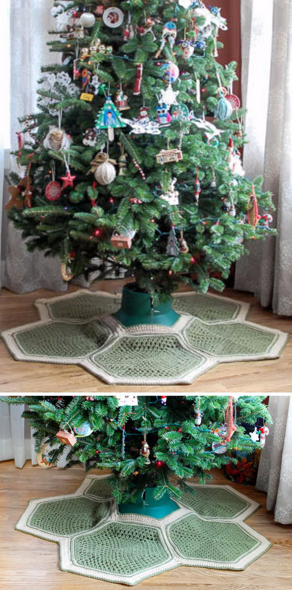 Granny Hexagon Crochet Tree Skirt.