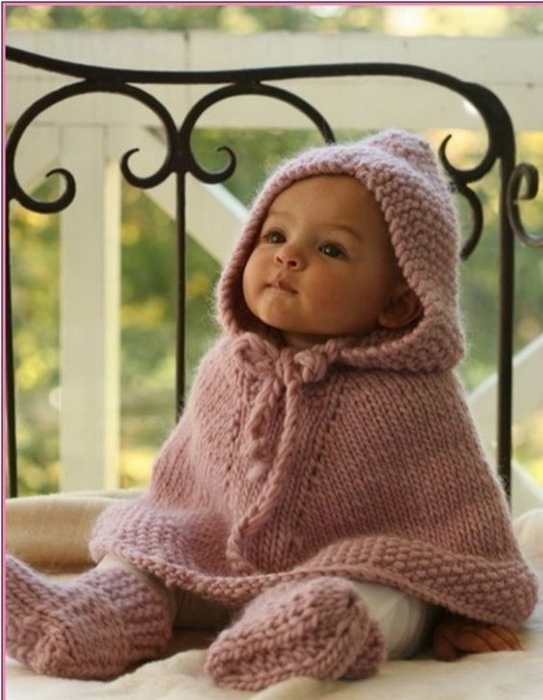 Knitted Poncho with Hood and Booties.