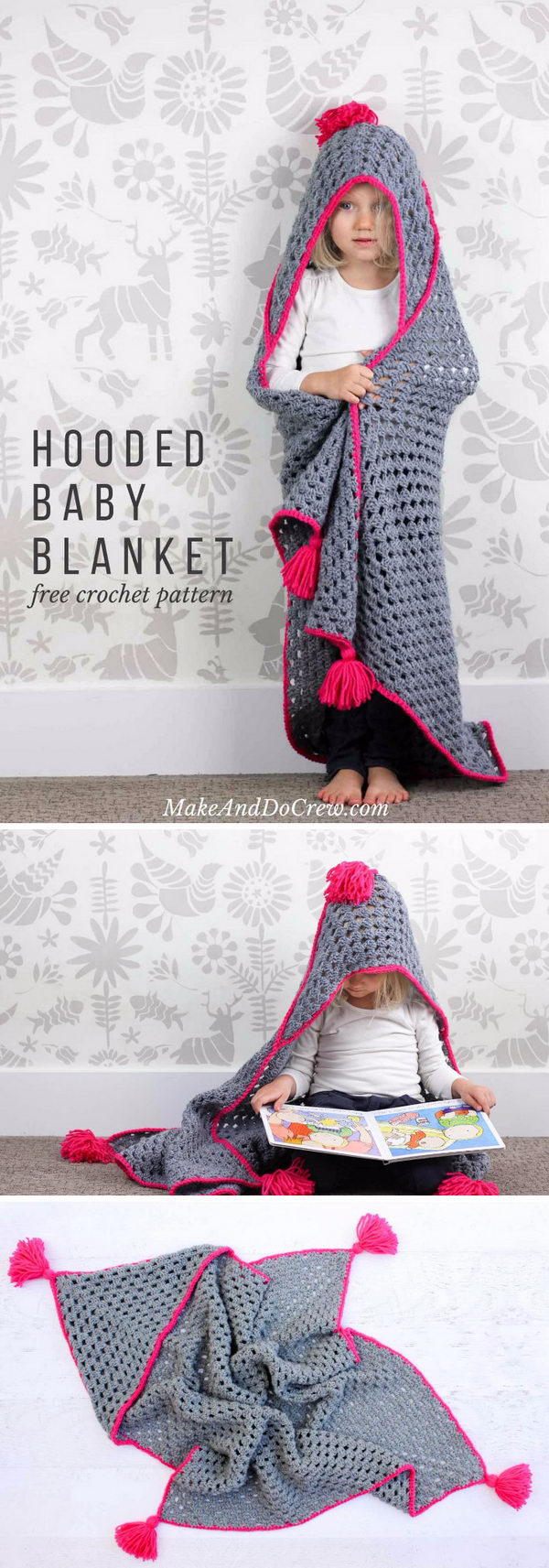 Crochet Hooded Baby Blanket.