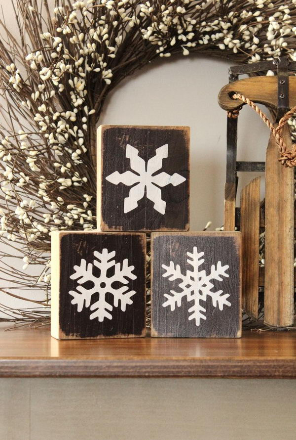 Rustic Snowflake Wooden Blocks.