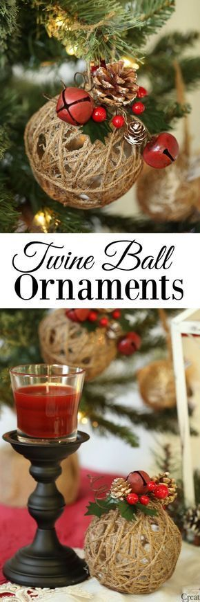 Glitter Twine Ball Ornaments.
