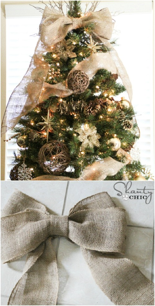 Burlap Bow Tree Topper.