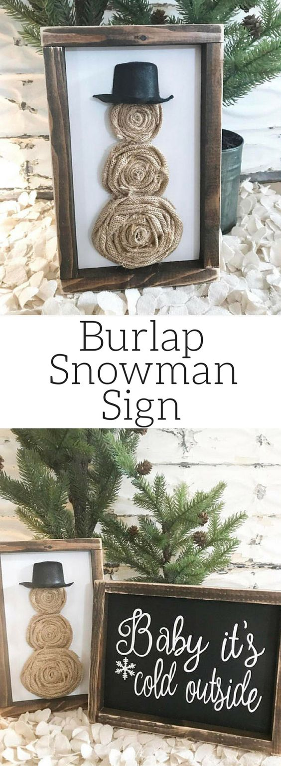 Burlap Snowman Decoration.