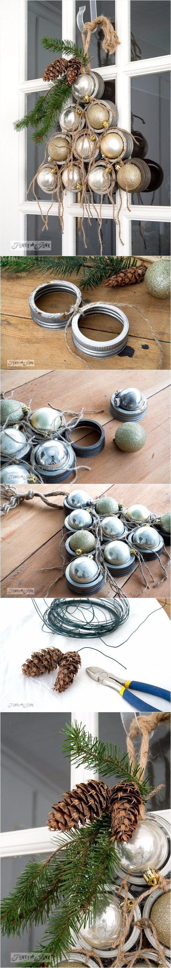 Mason Jar Lid Ornament Christmas Tree Wreath.
