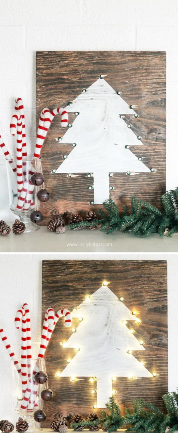 DIY Rustic Marquee Holiday Tree Sign.