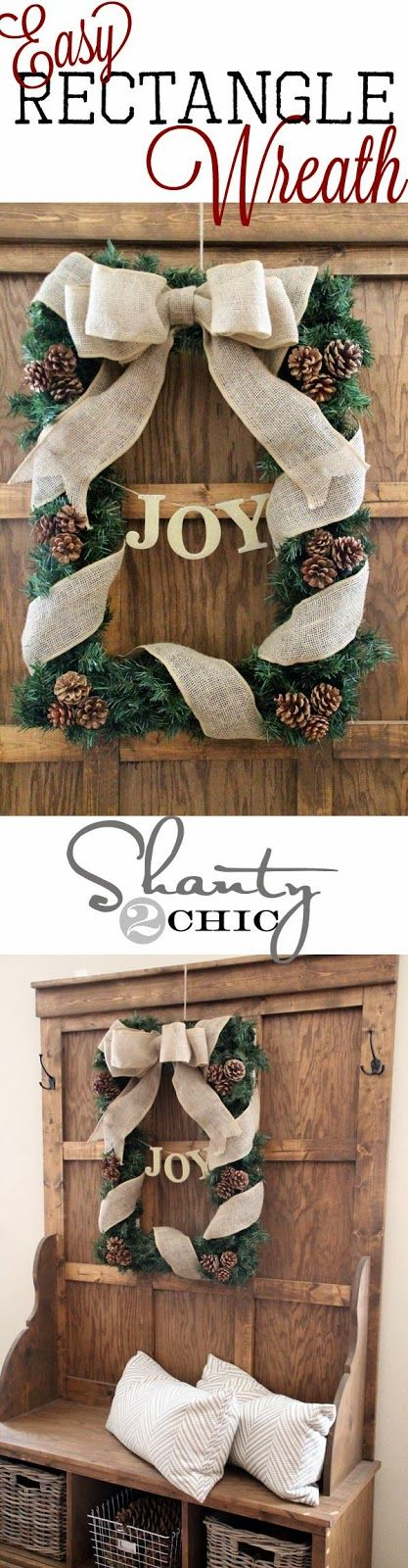 Rustic Picture Frame Christmas Wreath.