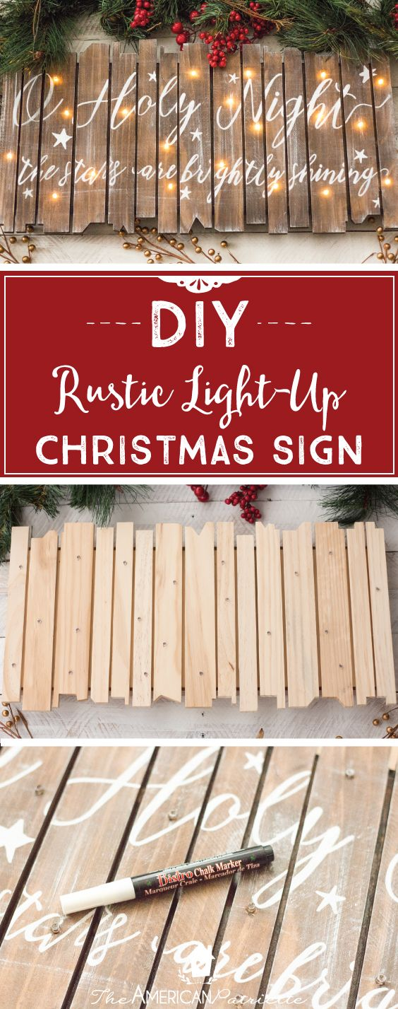 DIY Rustic Light Up Christmas Sign.