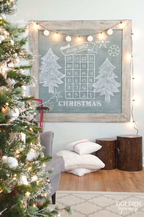 Christmas Extra Large Vintage Green Chalkboard.