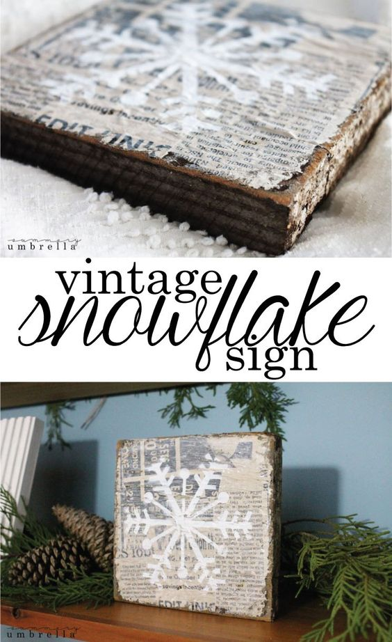 DIY Vintage Snowflake Sign.