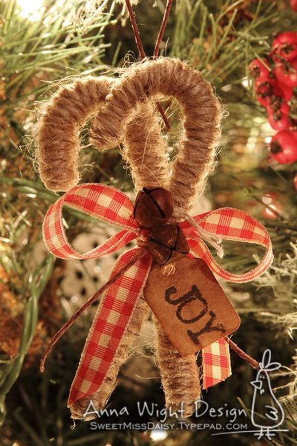 Twine Candy Cane Ornaments For Christmas.