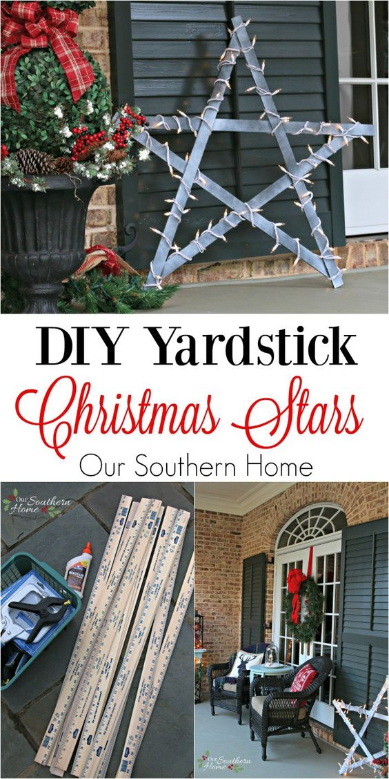 DIY Weathered Yardstick Stars.