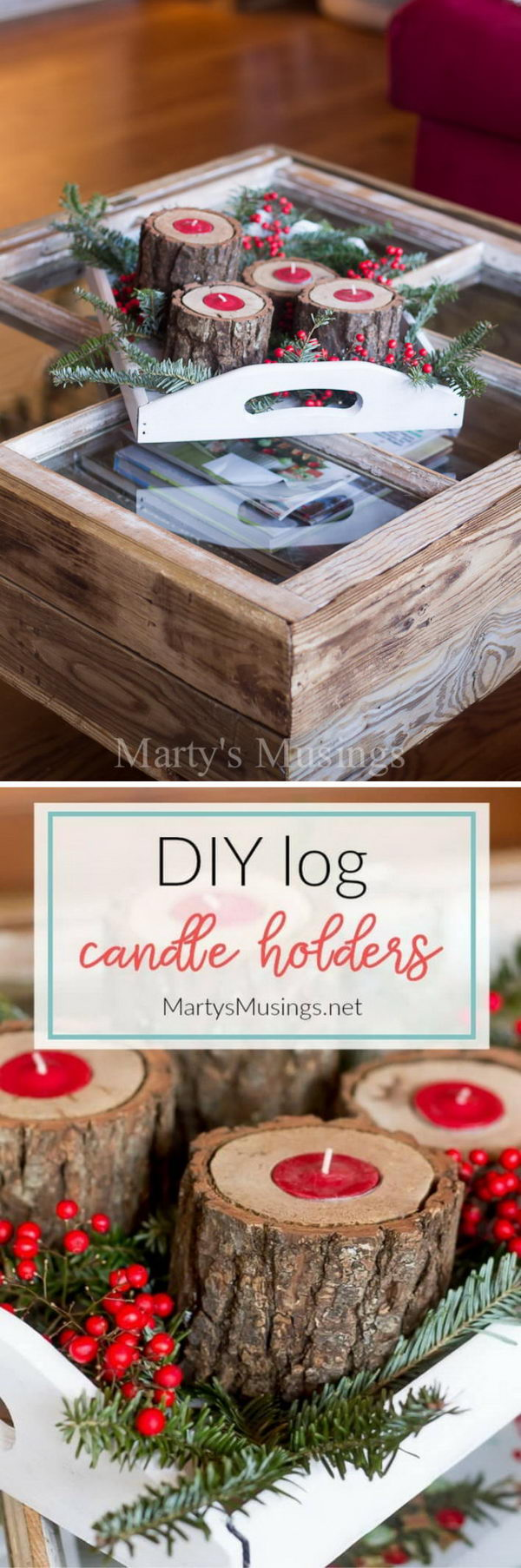 DIY Rustic Wood Candle Holders.