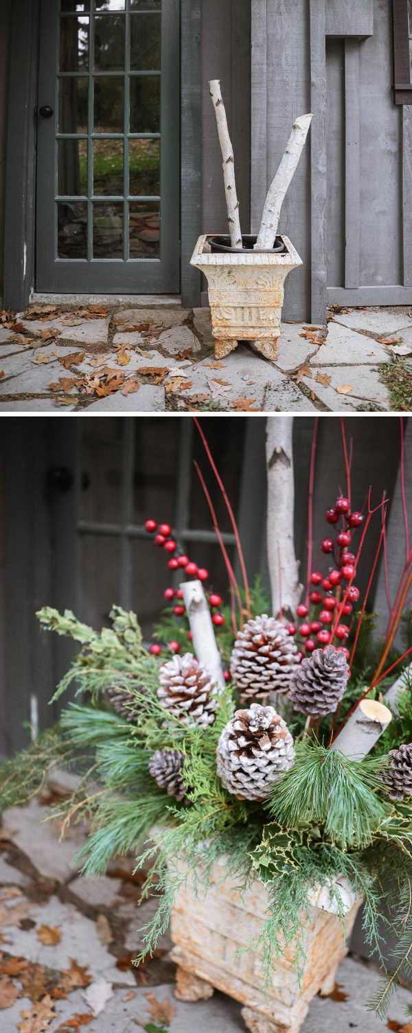Rustic Outdoor Christmas Planters.